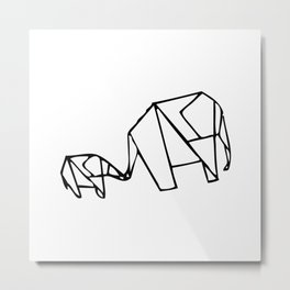 Origami Elephants (mom and baby) Metal Print