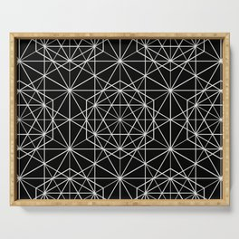 Islamic Motif - Geometric Pattern (White) Serving Tray
