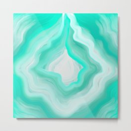 AGATE INTERPRETED:  OCEAN BLUES OIL PAINTING Metal Print