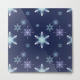 Midnight snowflakes pattern  Metal Print