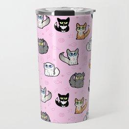 House Cats - Cartoon Pattern Pink Travel Mug