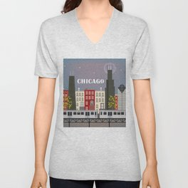 Chicago, Illinois - Skyline Illustration by Loose Petals Unisex V-Neck