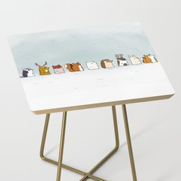 Winter forest animals Side Table