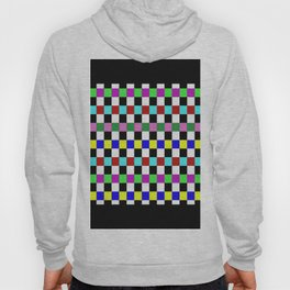 Retro 3 - Abstract, multicoloured, bold, chekkered, checkered pattern Hoody