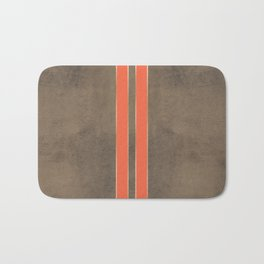 Vintage Hipster Retro Design - Brown Leather with Gold and Orange Stripes Bath Mat