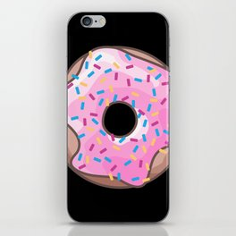 Pink Donut on Black iPhone Skin