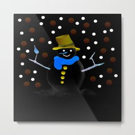 Snowman in the night Metal Print