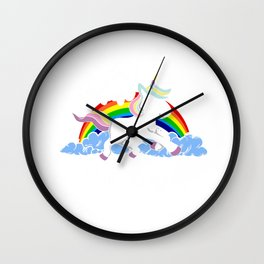 I Don't Believe In Human Introvert Unicorn Magical Creatures Magic Fantasy Rainbow Gift Wall Clock