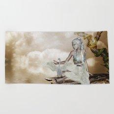 Fairy and the swan Beach Towel