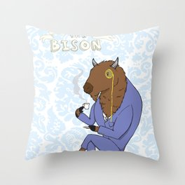 Tea Time with a Bison Throw Pillow