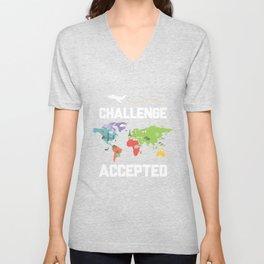 Challenge Accepted Map Travel World Traveler Gift Unisex V-Neck