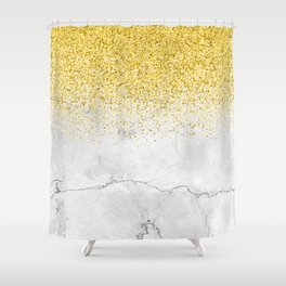 Gold Glitter and Grey Marble texture Shower Curtain