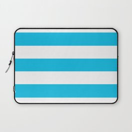Blue raspberry - solid color - white stripes pattern Laptop Sleeve