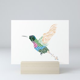 Abstract Hummingbird ~ Garnet-throated Variant Mini Art Print