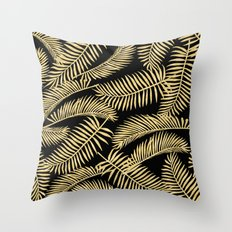 Palm Leaf Pattern Gold And Black Throw Pillow