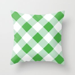 Gingham - Green Throw Pillow