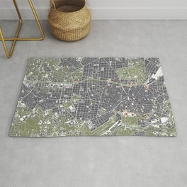 Madrid city map engraving Rug