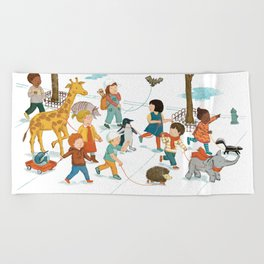 March with friends Beach Towel
