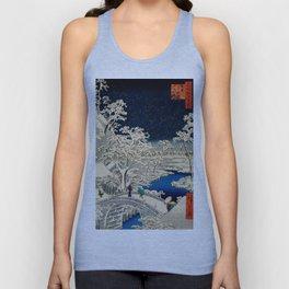 Ukiyo-e, Ando Hiroshige, Yuhi Hill and the Drum Bridge at Meguro Unisex Tank Top