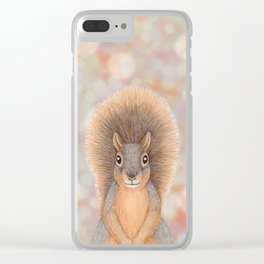 fox squirrel woodland animal portrait Clear iPhone Case