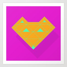 Linear Fox Orange Art Print