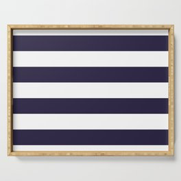 Dark eclipse Blue and White Wide Horizontal Cabana Tent Stripe Serving Tray