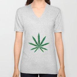 Marijuana. Cannabis leaf  Unisex V-Neck