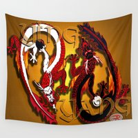 ying yang Wall Tapestries featuring Ying Yang Ver .1 by Nerd Artist DM