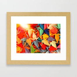 Senbazuru rainbow Framed Art Print