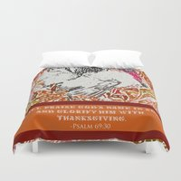 turkey Duvet Covers featuring Turkey Psalm by Canis Picta