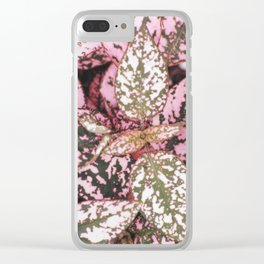 Green veined pink leaves Clear iPhone Case