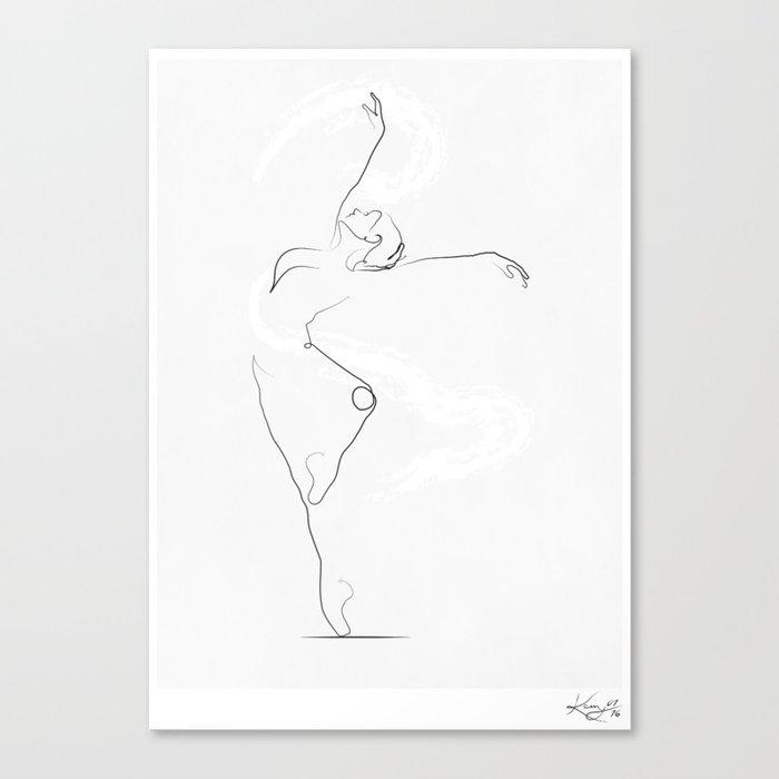 'Unfurl', Dancer Line Drawing Canvas Print