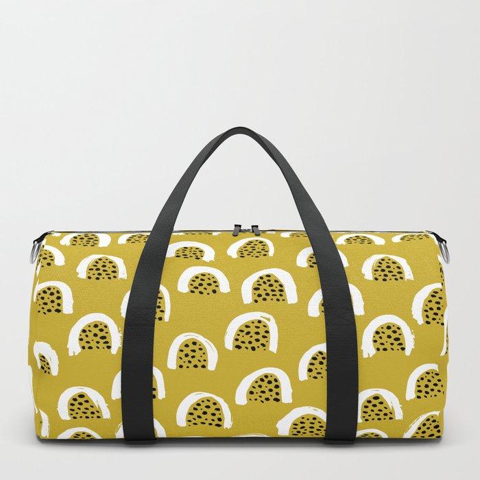 Sunny Melon love abstract brush paint strokes yellow ochre Duffle Bag