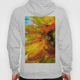 Sunflower on colorful watercolor background - Flowers Hoody
