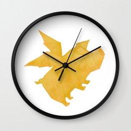 Origami Flying Pig Wall Clock