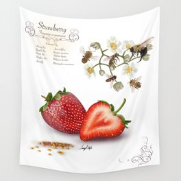 Strawberry and Pollinators Wall Tapestry
