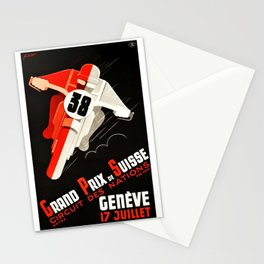 Grand Prix Suisse, Motorcycle Poster, Motorcycle Race, Vintage Poster Stationery Cards