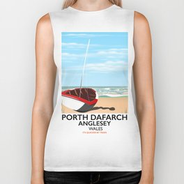 Porth Dafarch, Anglesey vintage travel poster Biker Tank