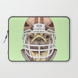 American Pug Football Yellow Laptop Sleeve
