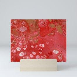 Red and gold fluid art Mini Art Print
