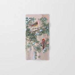 Winter Pair Cardinals (sq) Hand & Bath Towel