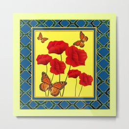 RED POPPIES ON CREAM ART TEAL DESIGN Metal Print