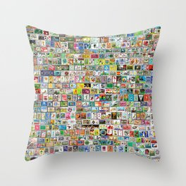 Soccer Stamps Throw Pillow