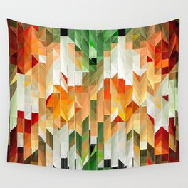 Geometric Tiled Orange Green Abstract Design Wall Tapestry