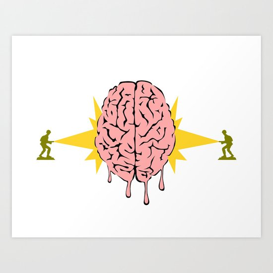 Toys soldiers melting a brain with lasers - funny vector illustration Art Print