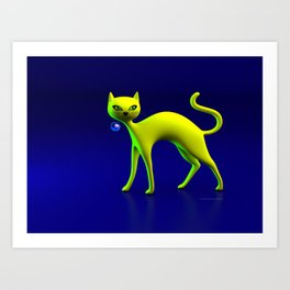 The Yellow Cat And Glass Blue Cherry Art Print