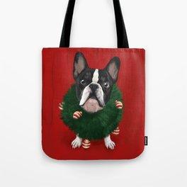 Christmas Bulldog Tote Bag