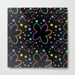 Whimsical Flowers And Dots (Black Background) Metal Print