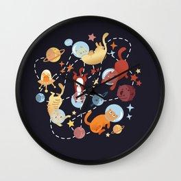 Catstronauts - retro catastronaut pattern Wall Clock