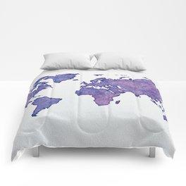 Purple World Map 02 Comforters